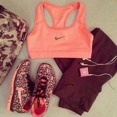 Workout & Girly. Pink Sports Bra & Pink Cheetah Print Nikes.