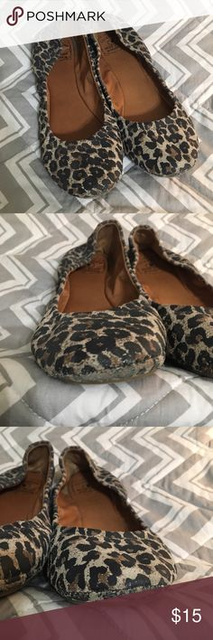 Lucky Brand Ballet Flats Leopard size 8.5 Pre-loved Lucky Brand Ballet Flats. Size 8.5. Leopard print. Some wear on the toes, but you can't tell from the top of the shoes.  Lots of life left in these!  Make an offer! Lucky Brand Shoes Flats & Loafers