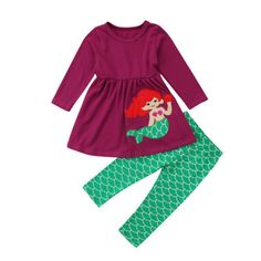 810125bedb0 Mermaid ariel disney inspired outfit school free shipping sizes 2 3 4 5 6.  Girl Top DressBaby ...
