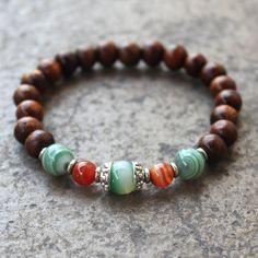 Strength and protection, wood, green and orange sardonyx mala bracelet