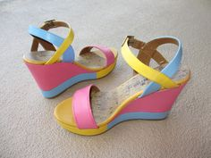 DIY Painted Shoes: Turn your old shoes into a new pair by painting them ;) http://whisperingstyle.blogspot.com/2012/06/diy-color-blocking-wedges.html
