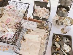 display ideas for an elegant market stall...baskets, muffin tins, goblets. Beautiful