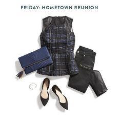 If you're home for the holidays, chances are you could be rendezvousing with hometown friends (or old flames) Friday night. In that case, who doesn't want to make a statement? Hit your old high school bar in style in a pair of coated denim (they fake the look of leather) and a graphic top with sheer details.