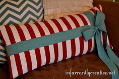 Sewing Tutorials | Striped lumbar pillow with bow inspired by Garnett Hill