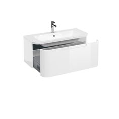 Aqua Cabinets Compact Wall Hung Vanity Unit with Quattrocast Basin - White Large Image Basin Vanity Unit, Vanity Units, Wall Hung Vanity, Modular Furniture, Cabinet Colors, Bathroom Furniture, Bathroom Ideas, Modern Materials, Drawers