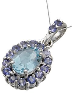 Vir Jewels 1.7 ct Aquamarine & Tanzanite Sterling Silver Pendant - Beyond the Rack