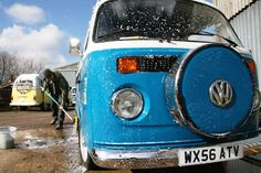 VW Camper getting washed