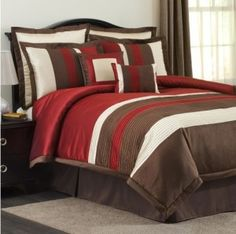 Modern Stripe 8 Piece Comforter Set in Red and Brown