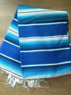 Blue SW Saltillo Serape Mexican Blanket hot rod seat cover table cloth 64x84