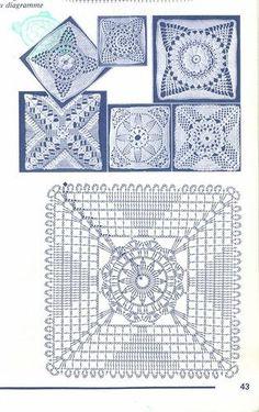 "Photo from album ""Muestras y Motivos Crochet on Yandex. Motifs Granny Square, Granny Square Crochet Pattern, Crochet Diagram, Crochet Chart, Crochet Squares, Crochet Granny, Filet Crochet, Crochet Bedspread Pattern, Crochet Motif Patterns"