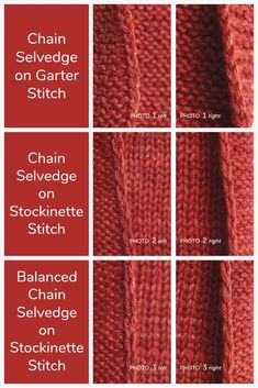 The chain selvedge, also known as the slip-stitch selvedge, forms a tidy decorative edge that's perfect for visible edges in your knitting. Stitches can be slipped knitwise or purlwise, with yarn held in front or in back of the work. In addition, the stitches can be placed at either the beginning or the end of the row. Each of these variations will have a slightly different effect on the appearance of the selvedge. Let's look at a few options so you can match the right selvedge to the…
