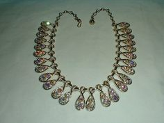 vintage cleopatra necklace aurora borealis by qualityvintagejewels, $52.00