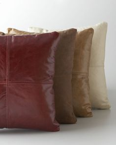 Shop luxury pillows and throw pillows at Horchow. Browse our luxurious selection of decorative and throw pillows in a variety of sizes and styles. Leather Pillow, Soft Leather, Brown Leather, Leather Cushions, Distressed Leather, Couch, Sofa Pillows, Throw Pillows, Blue Pillows