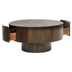 Shop the Oliver French Country Dark Brown Thick Round Coffee Table and other Coffee Tables at Kathy Kuo Home Rustic French, French Country Style, Round Wood Coffee Table, Coffee Tables, Modern Floor Mirrors, Media Room Design, Oak Bench, Brass Side Table, Dining Arm Chair