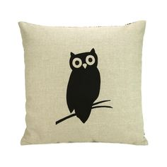 Black Modern Owl on Natural Linen Front and Damask Print Back 16 x 16 inch Cushion Cover