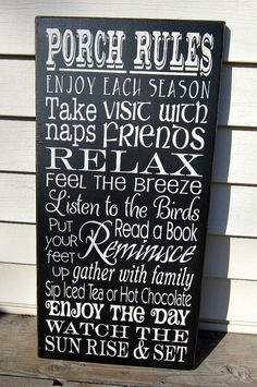 Large Wood Sign Porch Rules available in 28 by BedlamCountryCrafts Outside Living, Outdoor Living, Outdoor Decor, Outdoor Ideas, Outdoor Furniture, Lake Signs, Porch Signs, Outdoor Projects, Pallet Projects