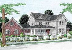 Porches to Spare - 4128DB | Country, Farmhouse, Traditional, 1st Floor Master Suite, Bonus Room, Butler Walk-in Pantry, CAD Available, Den-Office-Library-Study, PDF, Wrap Around Porch, Corner Lot | Architectural Designs