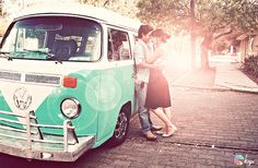Let's walk in the rain together. (couple,cute,love,kiss,photography,vw,vw bus,vintage)