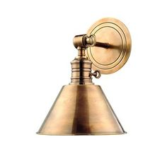 View the Hudson Valley Lighting 8321 Single Light Down Lighting Adjustable Brass Wall Sconce with Cone Shaped Metal Shade from the Garden City Collection at Build.com., in silver