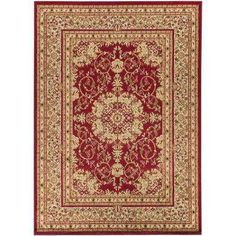 Traditional Oriental Medallion Dark Red 7 ft. 10 in. x 9 ft. 10 in. Area Rug