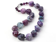 Purple Series Single Strand Brazil Stripe Pattern Purple Agate Knotted Chunky Necklace: http://www.aypearl.com/wholesale-gemstone-jewelry/wholesale-jewellery-X1894.html