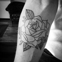 By kathrine #rosetattoo #finelinetattoo #tattooart #blackwork #blackworkers #lovetattoos