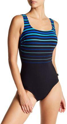 ea23cebe58 Reebok Striped One-Piece Swimsuit Striped One Piece, Blue Swimsuit, One  Piece Swimsuit