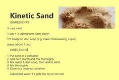 ^ I'm on a search for a kinetic sand recipe that works and the pins that don't work are coming down. Homemade Kinetic Sand, Homemade Moon Sand, Diy Kinetic Sand, Sensory Activities, Toddler Activities, Sensory Play, Family Activities, Indoor Activities, Summer Activities