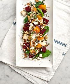 Beet, pear, and walnut salad