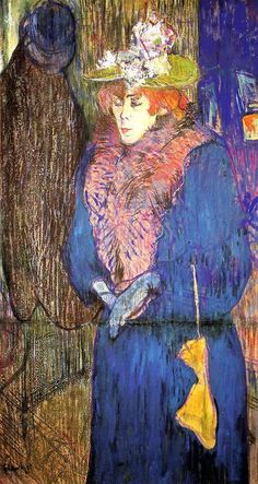 "Henri de Toulouse-Lautrec, ""Jane Avril in the entrance to the Moulin Rouge (Jane Avril all'entrata del Moulin Rouge)"", Courtauld Gallery, Londra Henri De Toulouse Lautrec, Impressionist Art, Art Moderne, Renoir, French Art, Matisse, Monet, Oeuvre D'art, Van Gogh"