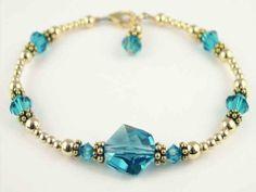 2 Piece Bracelet & Earring SET: 14K Gold Swarovski Crystal Handmade Beaded Bracelets December Blue Zircon - December Birthstones - MEDIUM 7 1/4 In. Damali. $89.95
