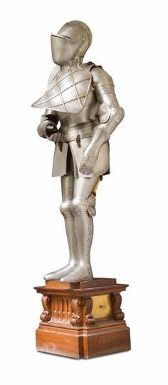 Armure de belle fabrication composée d'un heaume, d'une cuirasse, d'un gorgerin, d'une cote de maille et de deux gantelets en acier sculpté et patiné à décor de volutes et rinceaux feuillagés. Elle repose… - Christophe Joron Derem - 08/06/2017