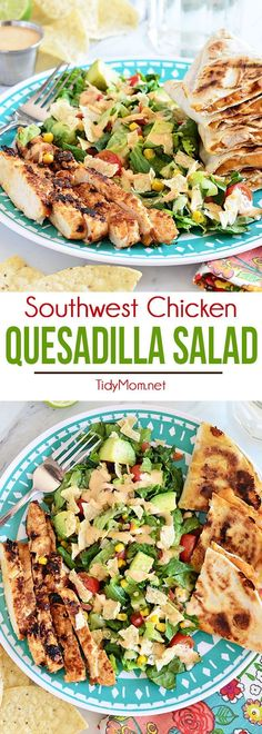 Southwest Chicken Quesadilla Salad is like an explosion in your mouth. Super easy to throw together and great for busy weeknights. Recipe at TidyMom.net