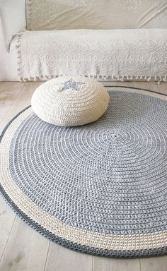 crochet rug - not sure that I would make a rug or pillows but love the color scheme. nice for a nautical themed nursery for a very special boy.
