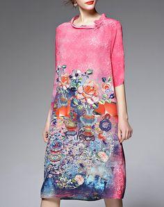 A-line Half Sleeve Floral Vintage Silk Midi Dress