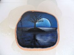 Moonlit tree  Miniature painting on English sea pottery by Alienstoatdesigns, £19.00