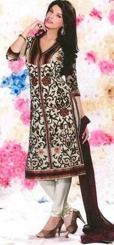 Brown Embroidered Faux Georgette Churidar Salwar Kameez