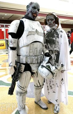 Zombie stormtrooper and princess Leia