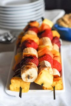 Grilled Fruit Kabobs With Mango Coconut RicottaDip