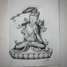 Manjushri. Ink. Baseado em uma estátua no CEBB.  #art #drawing #ink #inking #desenho #nanquim #buddhism #budismo #manjushri #sabedoria #wisdom #prajna #buddha #buda #cebb #hachura #crosshatching