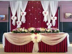 Wedding Table Setup, Wedding Backdrop Design, Wedding Stage Decorations, Floral Backdrop, Balloon Decorations, Decoration Evenementielle, Background Decoration, Birthday Picture Displays, Burgundy Wedding Theme