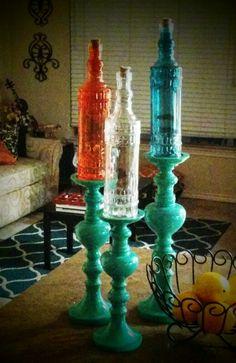 Dollar Tree bottles make great decor. by Jenisha