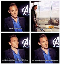#TomHiddleston | About #Loki in #TheAvengers (2012) | Everything he says, makes sense ... even if it doesn't.