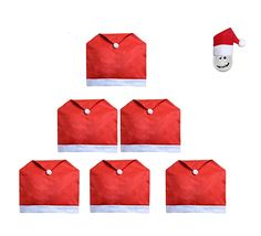 Misula 6 Pack x Christmas Santa Claus Hat Chair Back Covers Slipcovers Christmas Dinner Table Decor for Kitchen Dining Home Party with 6 free santa mini hat Chair Back Covers, Chair Backs, Dining Chair Slipcovers, Dining Room Chairs, Santa Claus Hat, Christmas Cover, Parsons Chairs, Room Accessories, Dinner Table