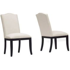 Baxton Studio Tyndall Linen Modern Dining Chair With Nailheads, Set Of 2,  Beige /