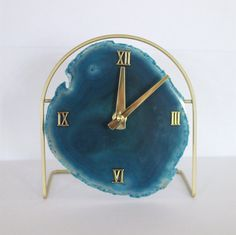 SoLo Agate Clock | Agate Clock on Acrylic/Metal/Gold Base | Agate Clock | Desk Clock | Modern | Boho Chic | Mid Century | Hollywood Regency