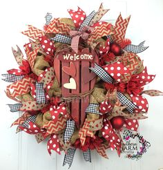 Burlap Mesh Valentine's Day Wreath For Door or Wall Gingham Hearts Polka Dot Flower by www.southerncharmwreaths.com