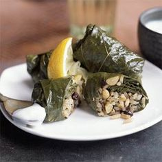 Grape Leaves Stuffed with Rice, Currants, and Herbs | MyRecipes.com