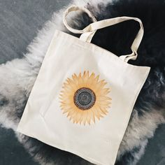 Tote bag with sunflower print! NOW ON ETSY!
