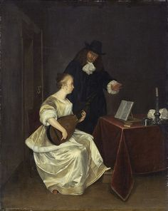 """The Music Lesson"", c.1670. Studio of Gerard ter Borch the Younger"